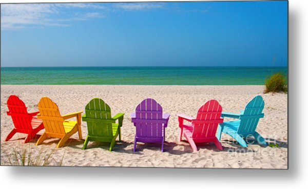 Adirondack Beach Chairs For A Summer Vacation In The Shell Sand  Metal Print