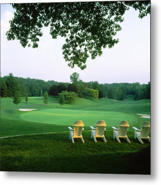 Adirondack Chairs In A Golf Course Metal Print