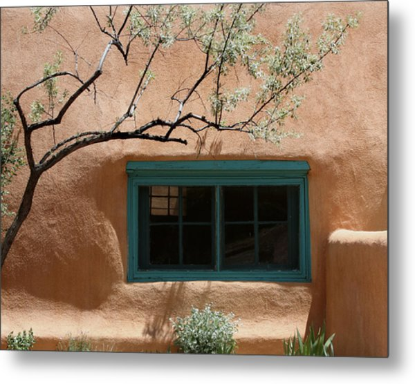 Adobe Window In Green Metal Print