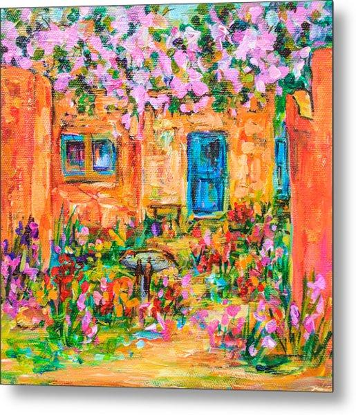 Adobe With Pink Flowers Metal Print