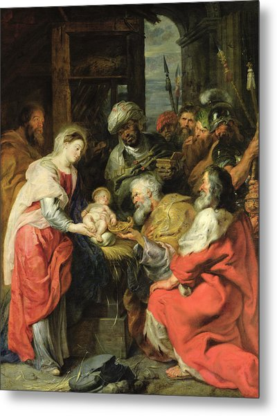 Adoration Of The Magi, 1626-29 Oil Canvas Metal Print