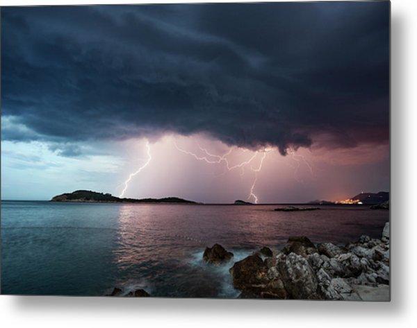 Adriatic Lightning Metal Print by Image By Chris Winsor