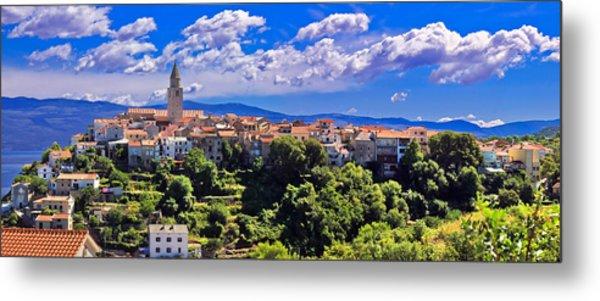 Adriatic Town Of Vrbnik Panoramic View Metal Print