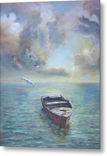 Metal Print featuring the painting Adrift by Katalin Luczay