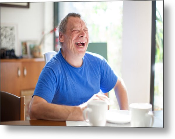 Adult Man Portrait With A Down Syndrome Metal Print by CasarsaGuru