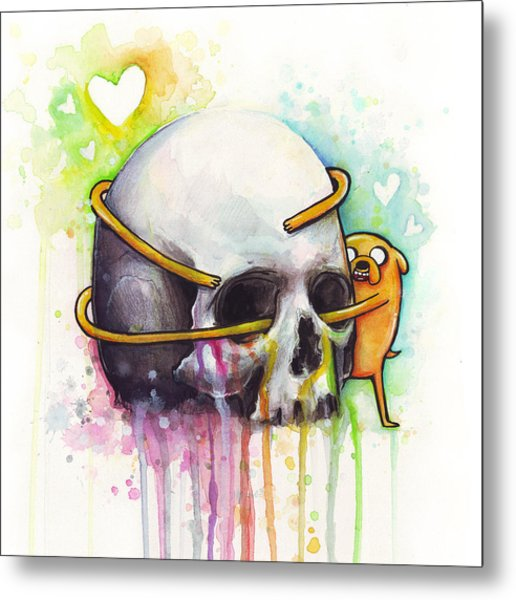 Adventure Time Jake Hugging Skull Watercolor Art Metal Print
