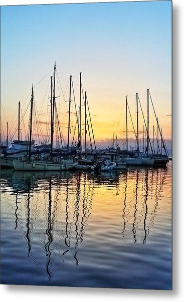 Aegina Harbour Sunset Metal Print