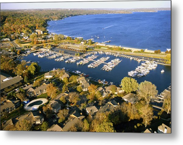 Aerial Of The Abbey Harbor - Fontana Wisconsin Metal Print