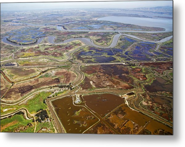 Aerial Of The California Delta Metal Print