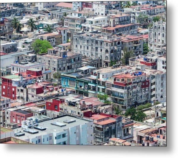Aerial Perspective Of A Neighbourhood In Havana Cuba. Metal Print
