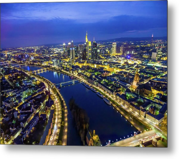 Aerial View. Germany, Frankfurt, River Metal Print by Malorny