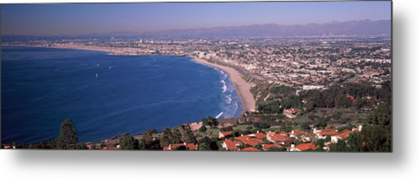 Aerial View Of A City At Coast, Santa Metal Print
