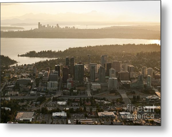 Aerial View Of Bellevue Skyline Metal Print