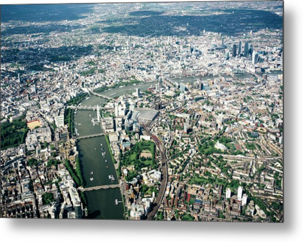 Aerial View Of London, River Thames Metal Print by Urbancow