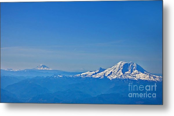 Aerial View Of Mount Rainier Volcano Art Prints Metal Print