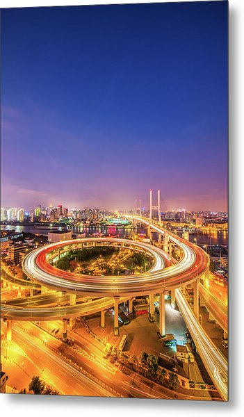 Aerial View Of Nanpu Bridge Metal Print by Fei Yang
