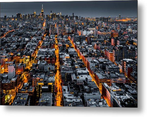 Aerial View Of New York City At Night Metal Print