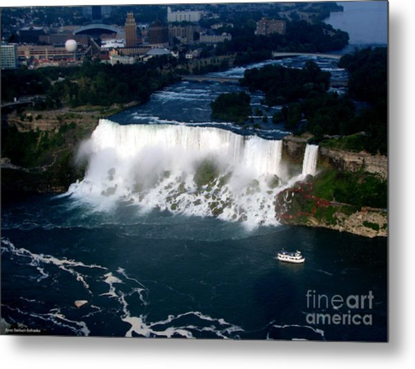 Metal Print featuring the photograph Aerial View Of Niagara Falls And River And Maid Of The Mist by Rose Santuci-Sofranko
