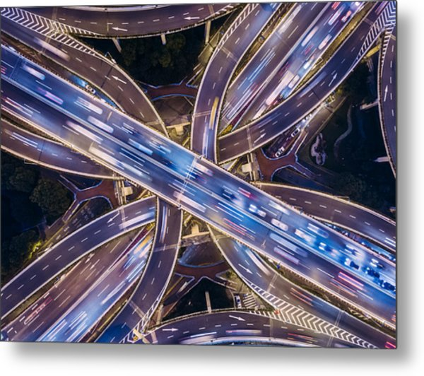Aerial View Of Shanghai Highway At Night Metal Print by Ansonmiao