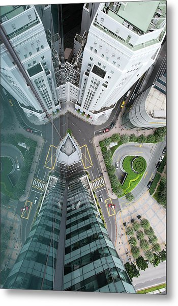 Aerial View Of Singaores Financial Metal Print by Andrew Tb Tan