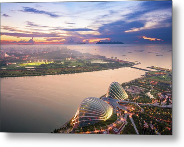 Aerial View Of Singapore With Sunset Metal Print by Loveguli