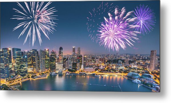 Aerial View Of The Singapore Skyline Metal Print by Franckreporter