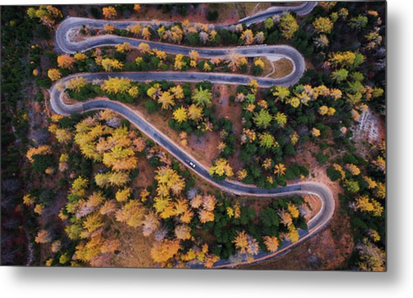 Aerial View Of Vrsic Mountain Pass Metal Print