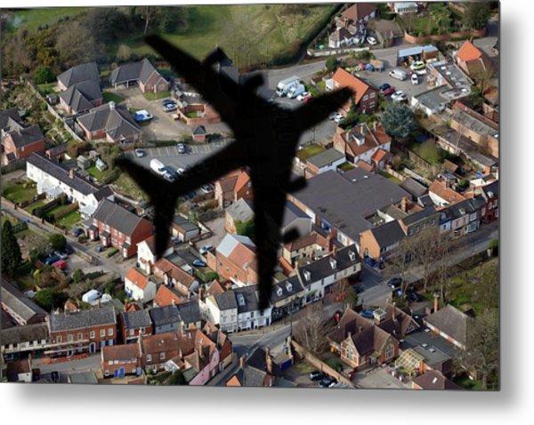 Aeroplane Shadow Over Houses Metal Print by Victor De Schwanberg