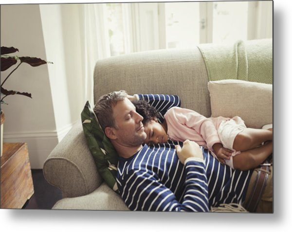 Affectionate, Serene Multi-ethnic Father And Daughter Napping On Sofa Metal Print by Caiaimage/Paul Bradbury