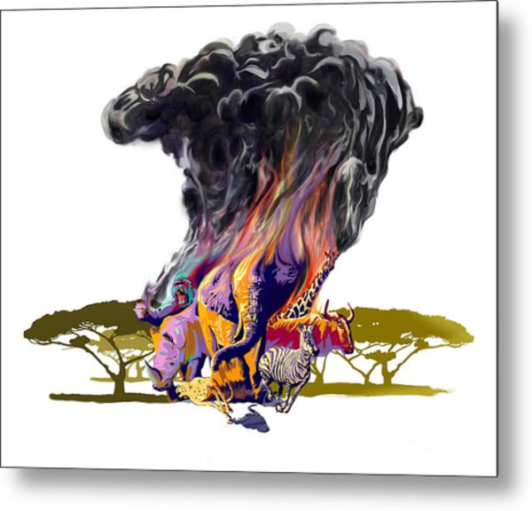 Africa Up In Smoke Metal Print