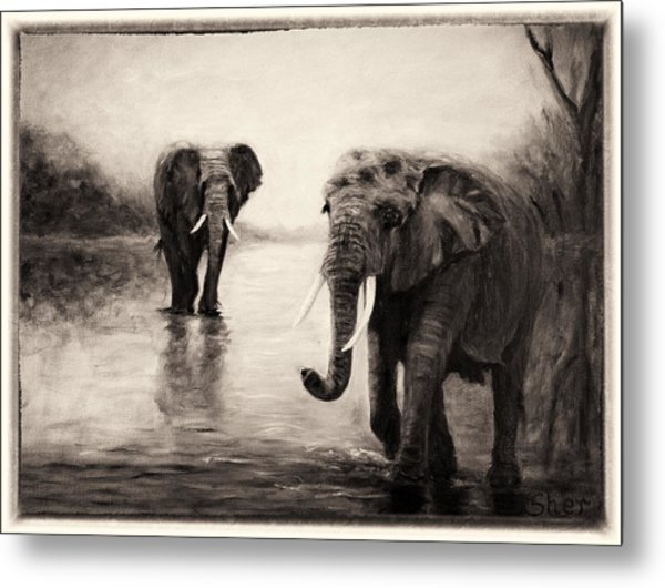 African Elephants At Sunset Metal Print
