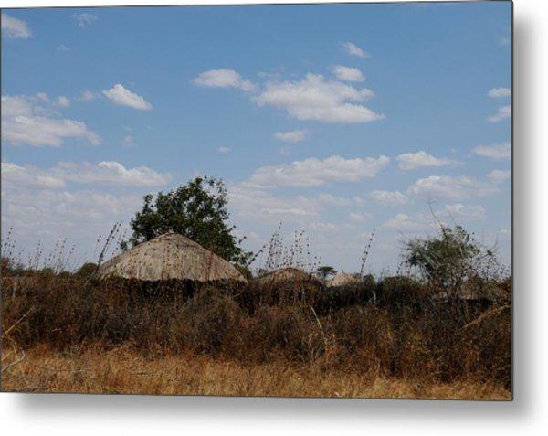 African Series Masai Hut Metal Print by Katherine Green