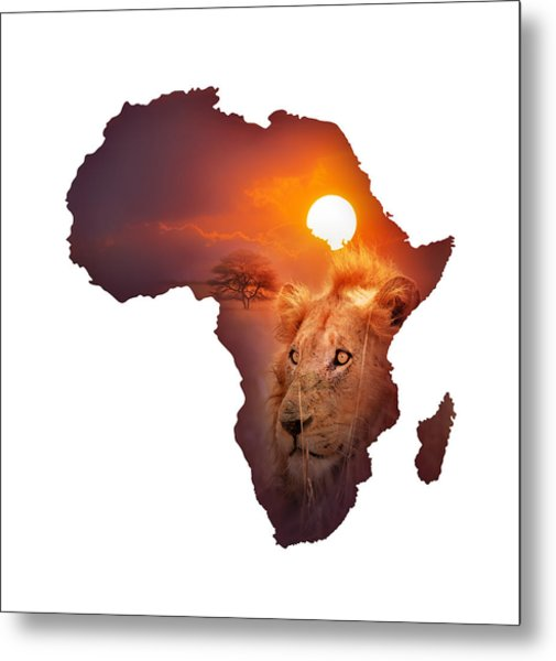 African Wildlife Map Metal Print