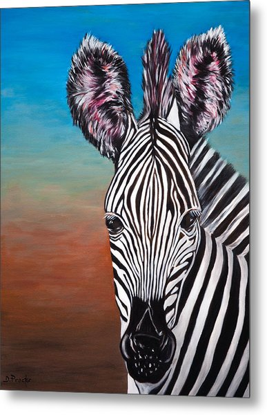 Metal Print featuring the painting African Zebra by Donna Proctor