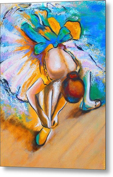 After Master Degas Ballerina Tying Her Shoe Metal Print by Susi Franco