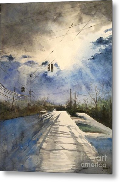 After Rain -on The Michigan Ave. Saline Michigan Metal Print
