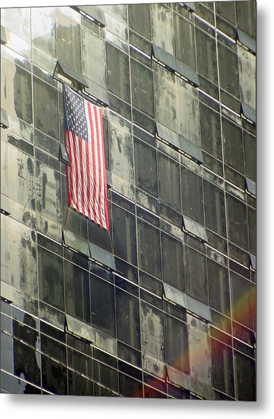 After Sep. 11 Flag On Millennium Hotel Metal Print