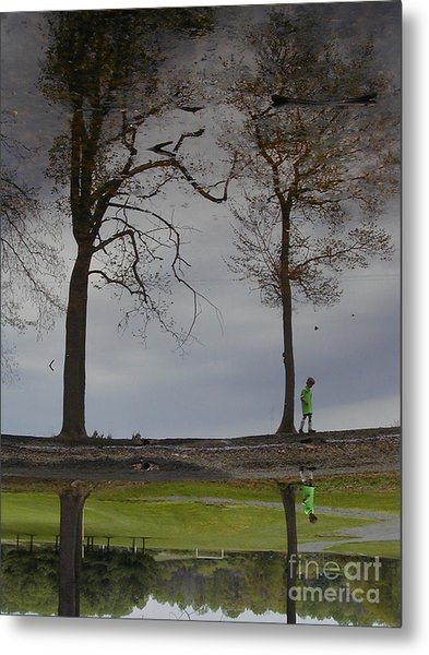 After Soccer By The Pond Metal Print
