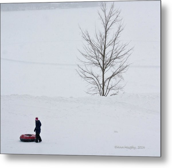 After The Snow Tube Ride Metal Print