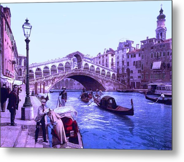 Afternoon At The Rialto Bridge Venice Italy II Metal Print by L Brown