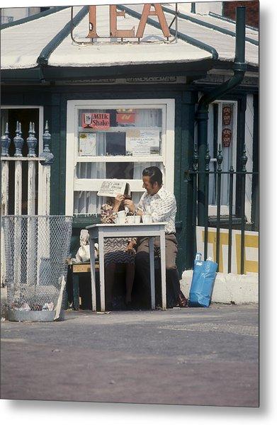 Afternoon Tea With Mum At The Seaside Metal Print by Daniel Blatt