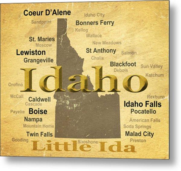 Aged Idaho State Pride Map Silhouette  Metal Print