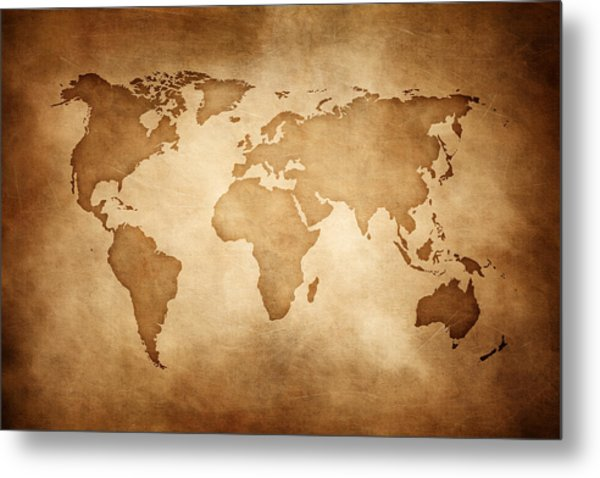 Aged Style World Map, Paper Texture Background Metal Print by Sankai