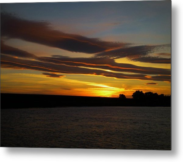 Air Brushed River Sunset Metal Print