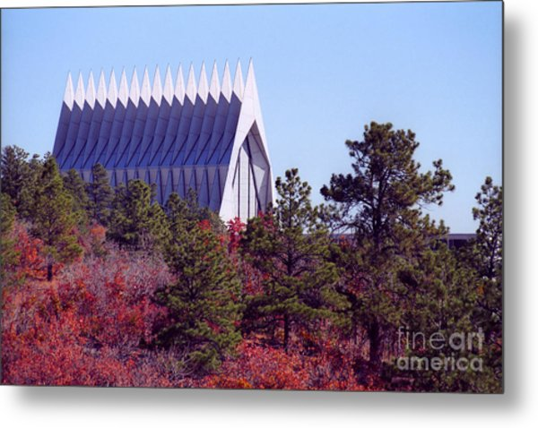 Air Force Academy Chapel In Autumn Metal Print