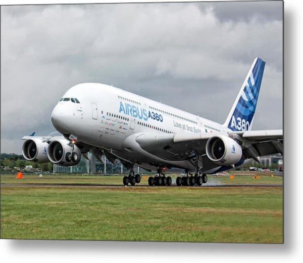 Airbus A380 Landing Metal Print