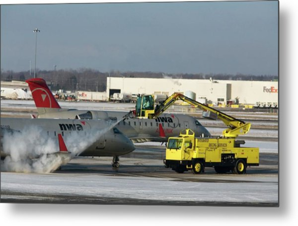 Airplane De-icing Metal Print