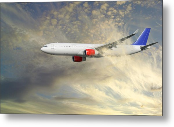 Airplane Flying Into Clouds Close-ups Metal Print by Christian Lagereek