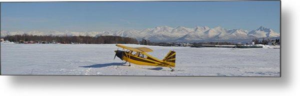 Airplane On Ice Metal Print
