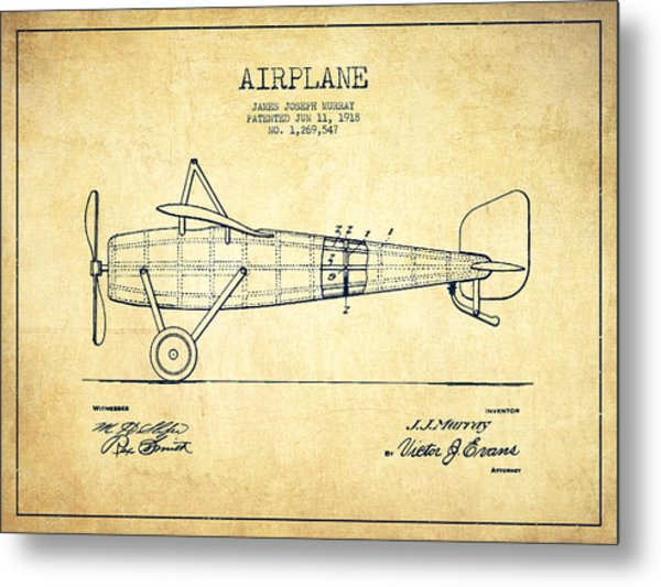 Airplane Patent Drawing From 1918 - Vintage Metal Print